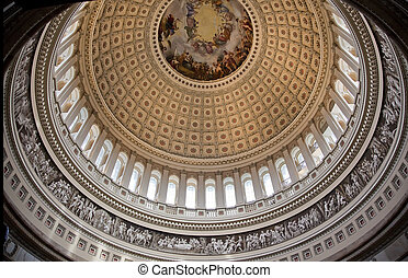 US Capitol Round Dome Rotunda Apothesis George Washington DC...