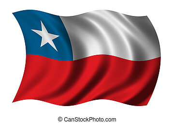 Flag of Chile waving in the wind - clipping path included
