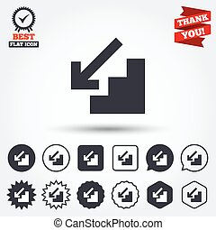 Downstairs icon Down arrow sign Circle, star, speech bubble...