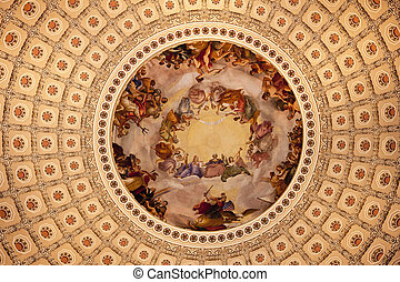 US Capitol Dome Rotunda Apothesis George Washington DC -...