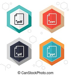 Document signs File extensions symbols - Hexagon buttons...