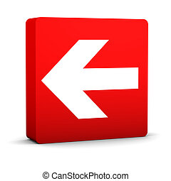 Red Arrow Sign - Red arrow sign on a white background. Part...