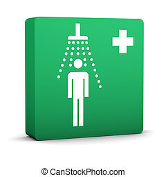 Green Shower Sign - Green shower sign on a white background...
