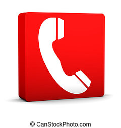 Red Telephone Sign - Red telephone sign on a white...