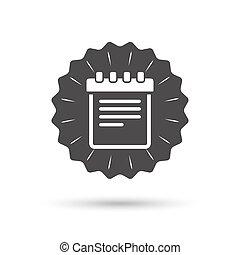 Notepad sign icon Paper notebook symbol - Vintage emblem...