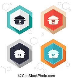 Cooking pan icons Boil nine, twelve minutes - Hexagon...