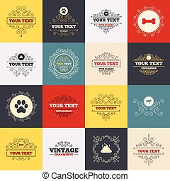 Pets icons Dog paw and feces signs - Vintage frames, labels...