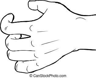 Outlined Grabbing Hand - Outlined human hand holding nothing...