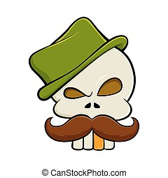 Skull with mustache and a tall hat - Skull with mustache...