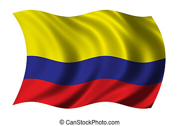 Flag of Colombia waving in the wind - very high resolution,...