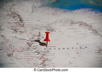 South Pole Pinned on Map with Red Pushpin - South Pole...