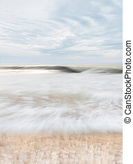 Wave and Stones - An abstract seascape with blurred panning...