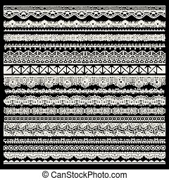 vector set of lace trims isolated on black background