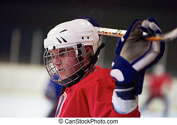 ice hockey player portrait - young ice hockey player...