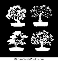 Set of White Bonsai Trees. Vector Illustration.