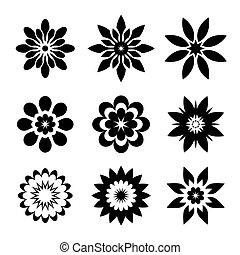 Set of black geometric flowers - Set of black geometric...