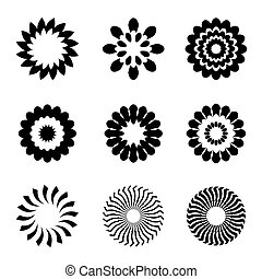 Set of black geometric flowers, stars and graphic elements -...