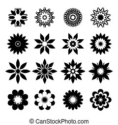 Set of black geometric flowers - Set of black vector Icons