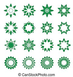 Set of green geometric flowers - Set of vector Icons.