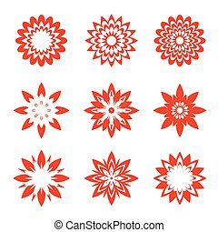 Set of red geometric flowers - Set of red vector Icons.