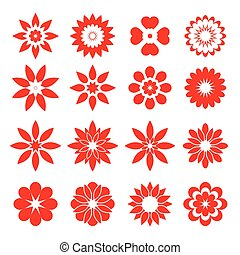 Set of red flowers - Set of vector Icons.