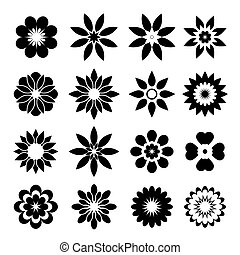 Set of  geometric flowers - Set of black vector Icons.
