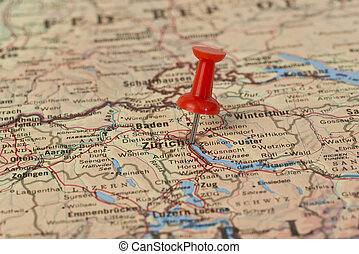 Zurich Marked With Red Pushpin on Map - Zurich marked with...