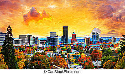 Portland Cityscape in Fall Abtract