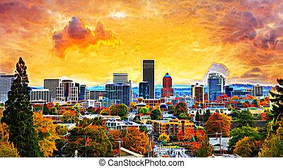 Portland Cityscape in Fall Abtract - Portland Oregon...