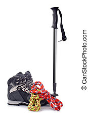 Climbing gear - A hiking pole, pair of boots and two ropes...