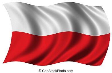 Flag of Poland waving in the wind - clipping path included
