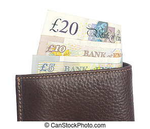 Wallet with British pound notes - Closeup detail shot of a...