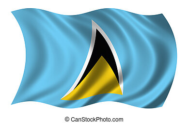 St. Lucia - Flag of St. Lucia waving in the wind - clipping...