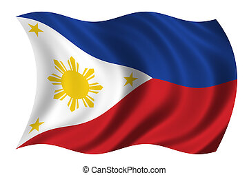 Phillipines - Flag of the Phillipines waving in the wind -...