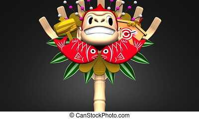 Moving Monkey Kumade On Black Background Loop able 3D render...