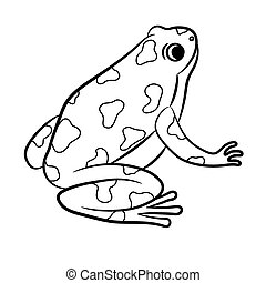 Cartoon of Poison-Dart Frog. Coloring page. Vector