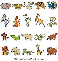 Zoo animals collection - Cute zoo animals collection. Vector...
