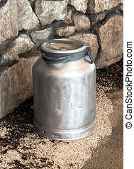 Old vintage metal milk churn or can - Old vintage metal...