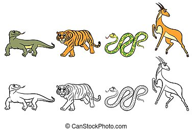 Cute zoo animals collection Coloring book Vector...