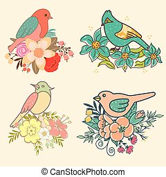 Set of birds with flowers for your