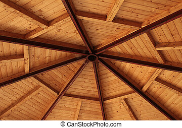 Roof ridge and rafters - Interior view of a pitched timber...