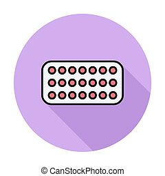 Contraceptive pills Single flat color icon on the circle...