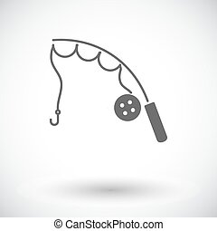 Fishing rod. Single flat icon on white background. Vector...