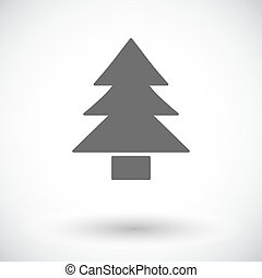Conifer. Single flat icon on white background. Vector...