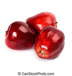 three red apples isolated on white background