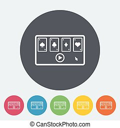 Video game Single flat icon on the circle button Vector...