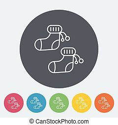 Children socks icon. Thin line flat vector related icon for...