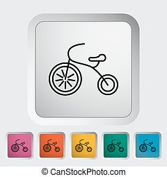 Tricycle thin line flat vector related icon set for web and...