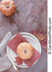 Autumn place settings - Table Set with pumpkins, rosemary...