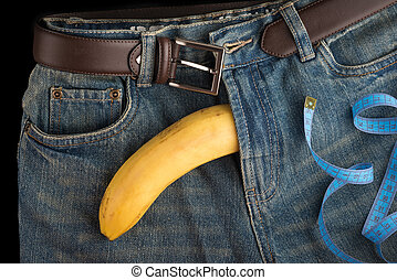 Big Banana like the penis, centimeter and men's jeans - Big...